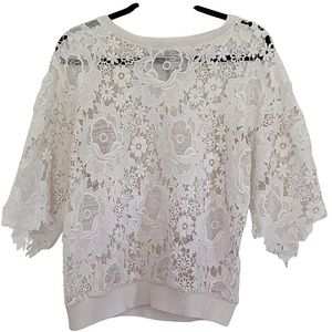 Anthropologie | White Lace Embroidered | Sweater